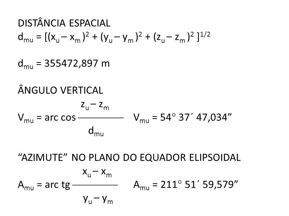 DISTÂNCIA ESPACIAL dmu = [(xu – xm )2 + (yu – ym )2 + (zu – zm )2 ]1/2. dmu = 355472,897 m. ÂNGULO VERTICAL.
